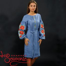 Embroidered Dress Charming poppies VSU-1034