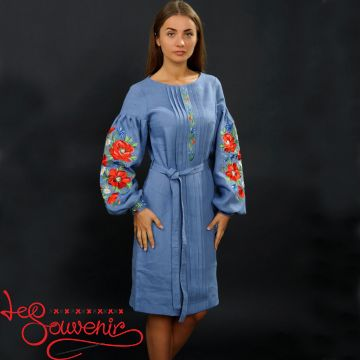 Embroidered Dress Charming poppies VSU-1034