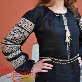 Вишита сукня Панянка з бежевою вишивкою VSU-1069