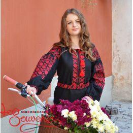 Вишита сукня Панянка з червоною вишивкою VSU-1070
