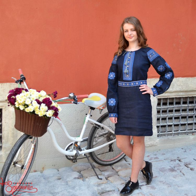 Вишита сукня Панянка з синьою вишивкою VSU-1071 38217dbe0b831