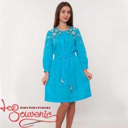 Вышитое льняное платье VSU-1080