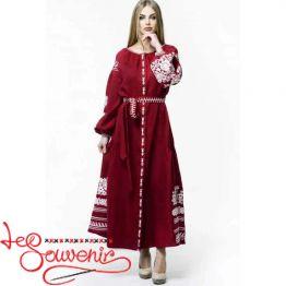 Вышитое льняное платье темно-красное VSU-1091