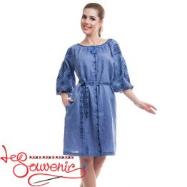 Embroidered Blue Dress Ivanna VSU-1110