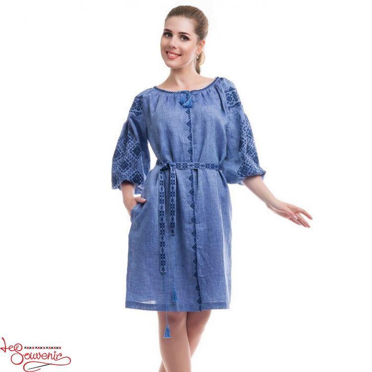 Вишита сукня Іванна синя VSU-1110 3d2dffede99b8