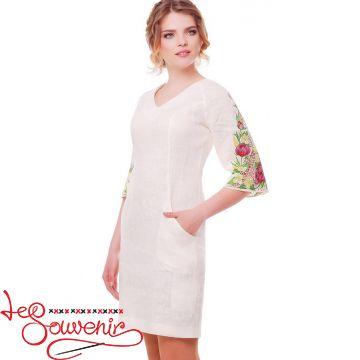 Вышитое платье Пионы молочное VSU-1112