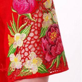 Вишита сукня Півонії червона VSU-1113