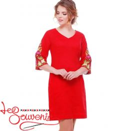 Embroidered Red Dress Peonies VSU-1113