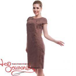 Вышитое платье Вензеля коричневое VSU-1116