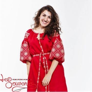 Вышитое платье Іванна красное VSU-1119