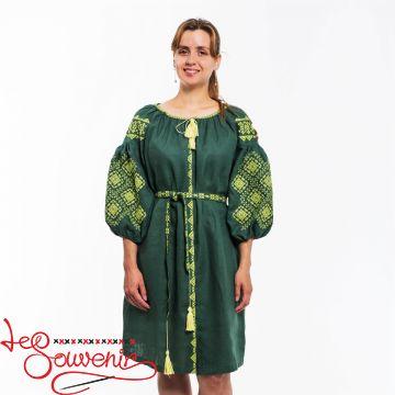Вишита сукня Іванна зелена VSU-1120