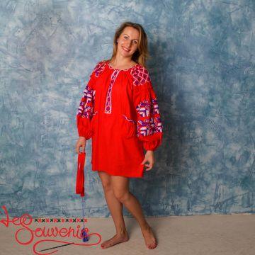 Вышитое льняное платье VSU-1132
