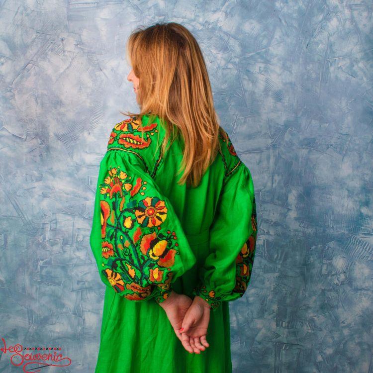 e04259f2564cebb Вышитое льняное платье зелёное VSU-1133, купить в Киев, Запорожье ...