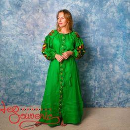 Вышитое льняное платье зелёное VSU-1133