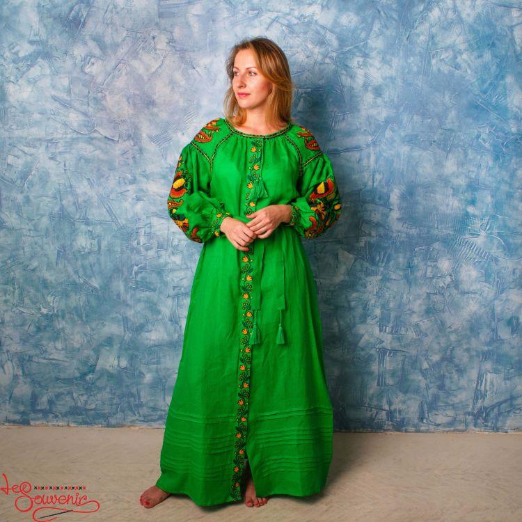 Вишита лляна сукня зелена VSU-1133 851def8f70ad4