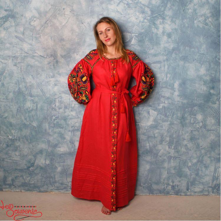 265e88eb8df1038 Вышитое льняное платье красное VSU-1134, купить в Киев, Запорожье ...