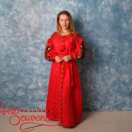 Вишита лляна сукня червона VSU-1134