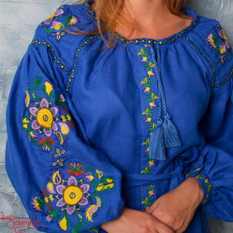 ba8d99484699c29 Вышитое льняное платье синее VSU-1135, купить в Киев, Запорожье ...