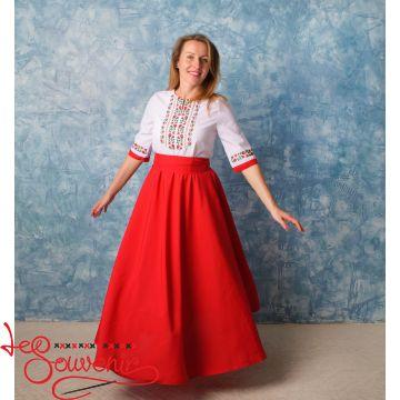 Вышитое платье красное VSU-1136