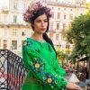 Вишита лляна сукня зелена VSU-1144