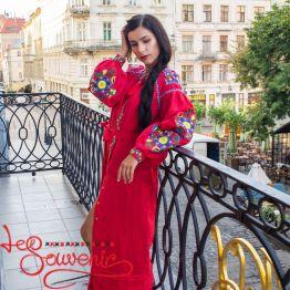 Вишита лляна сукня червона VSU-1145