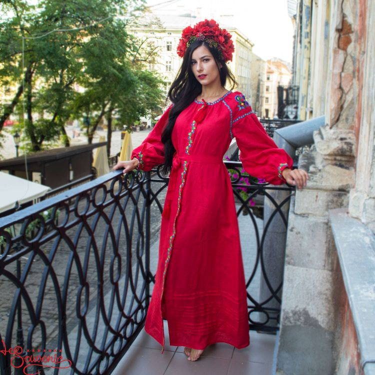 b5c65ae6f01492e Вышитое льняное платье красное VSU-1145, купить в Киев, Запорожье ...