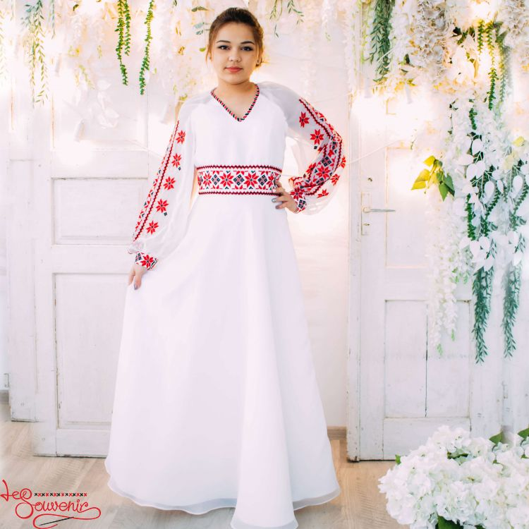Весільна сукня з червоною вишивкою VSU-1151 66f64c63040ee