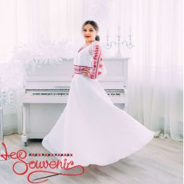 Весільна сукня з червоною вишивкою VSU-1151