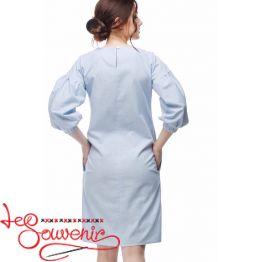 Вышитое платье Цветущая голубая VSU-1164