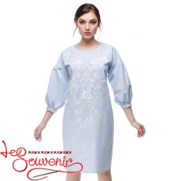 Embroidered Dress Flowering blue VSU-1164