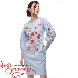 Embroidered Dress Flowering blue (colored) VSU-1165