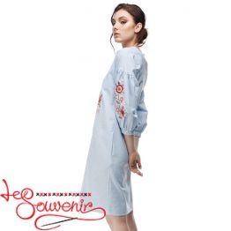 Вишита сукня Квітуча блакитна (кольорова) VSU-1165