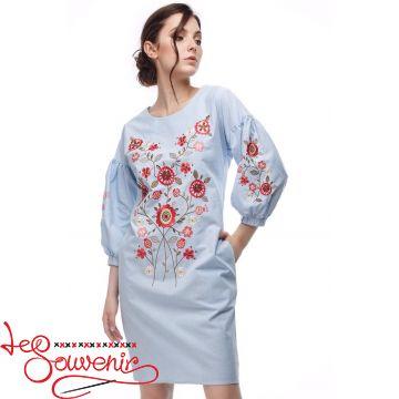 Вышитое платье Цветущая голубая (цветная) VSU-1165
