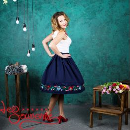 Blue Skirt with Pleats VSP-1005